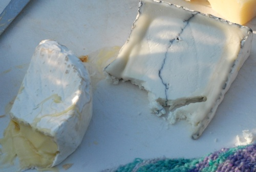 Dinah's cheese (wheel) and Humboldt Fog (with stripe)