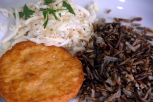 Trident salmon burger with rice and celeriac slaw