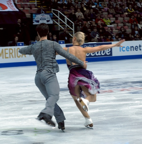 Hubbell and Donahue skating their program