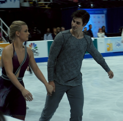 Madison Hubbell and Zachary Donahue in warmup