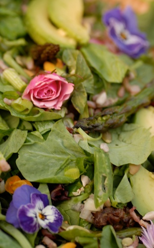Mother's Day Picnic Salad with edible rose and pansies, asparagus, avocado, mixed greens, and shallot dressing
