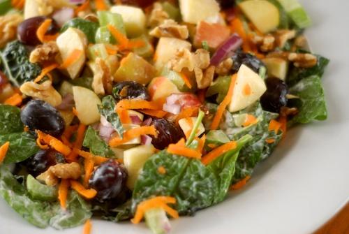 a home copy of Trader Joe's Kale Waldorf salad
