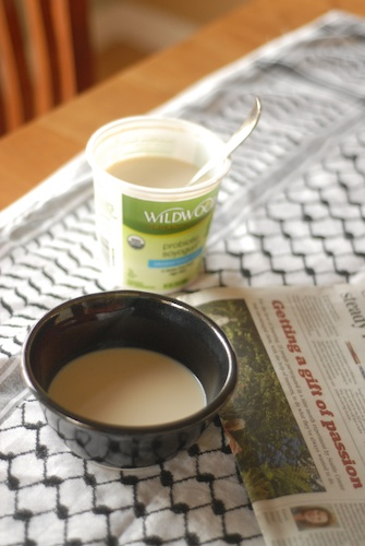 Wildwood Organic Soy Yogurt in a bowl, shown with container