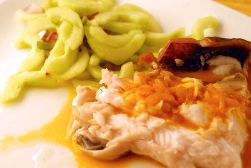 black cod with cucumber salad and carrot reduction
