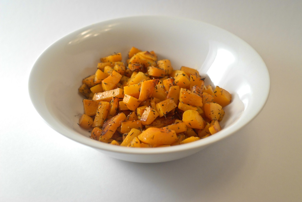 finished dish of butternut squash with thyme