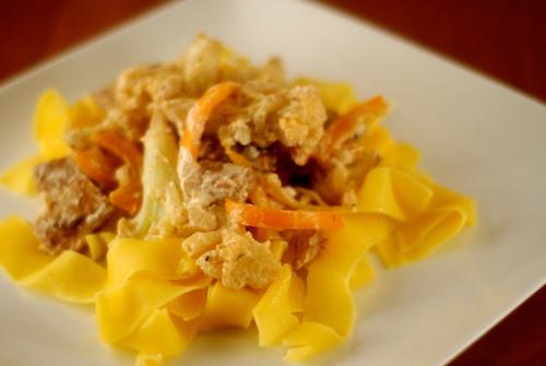 cauliflower and bell pepper vegetable stroganoff over egg noodles on a dinner plate
