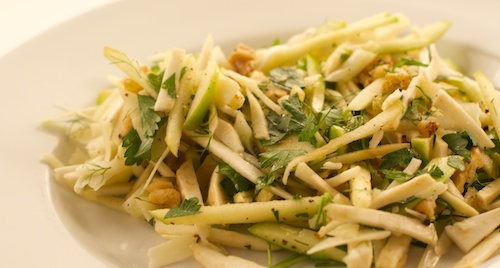 salad with celery root, apple, fennel, and manchego cheese