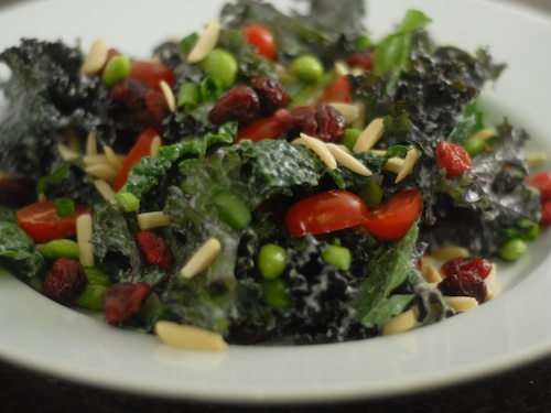 kale edamame salad on a dinner plate