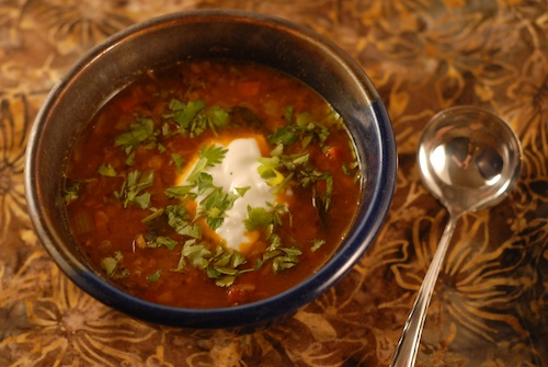 dal-inspired red lentil soup with yogurt and cilantro garnish