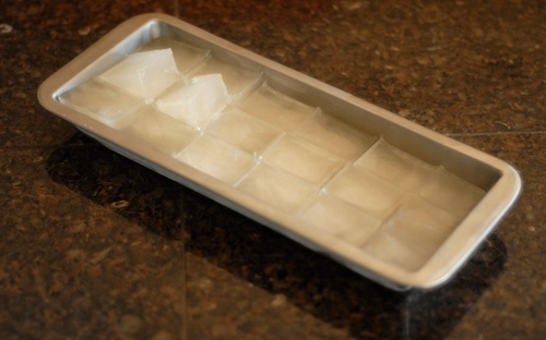 coconut water ice cubes in the tray