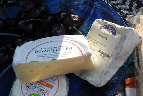 bing cherries, Dinah's cheese, humboldt fog