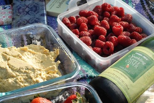 hummus, raspberries, strawberries, Trader Joe's sparkling cider