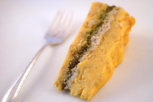 polenta torte on a white plate