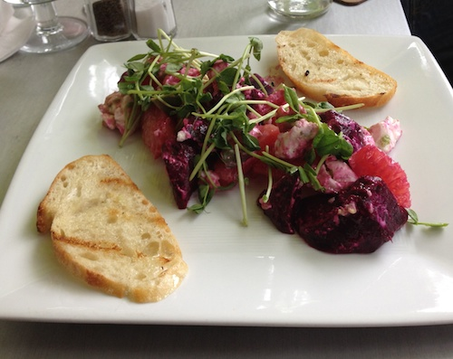 roasted beet, grapefruit, chèvre, micro green salad with bruscetta