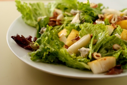 salad with pear, hazelnut, and Humboldt Fog goat cheese