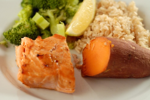 steelhead with yams, broccoli, and brown rice