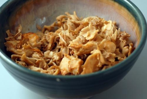 cooked Sparassis crispa, the cauliflower mushroom