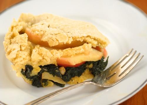 a piece of Swiss chard and apple tart