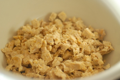 tempeh crumbled in a large mixing bowl