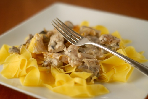 mushroom vegetable stroganoff over egg noodles on a dinner plate with a fork