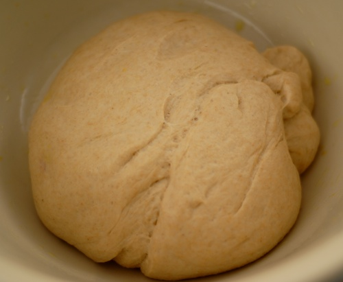 risen white whole wheat pizza dough in mixing bowl